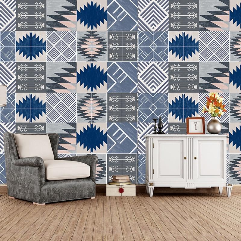 Mediterranean Style Wall Tile Sticker Home Decor DIY Self-adhesive Wallpaper Living Room Kitchen Bathroom Decoration Vinyl Mural