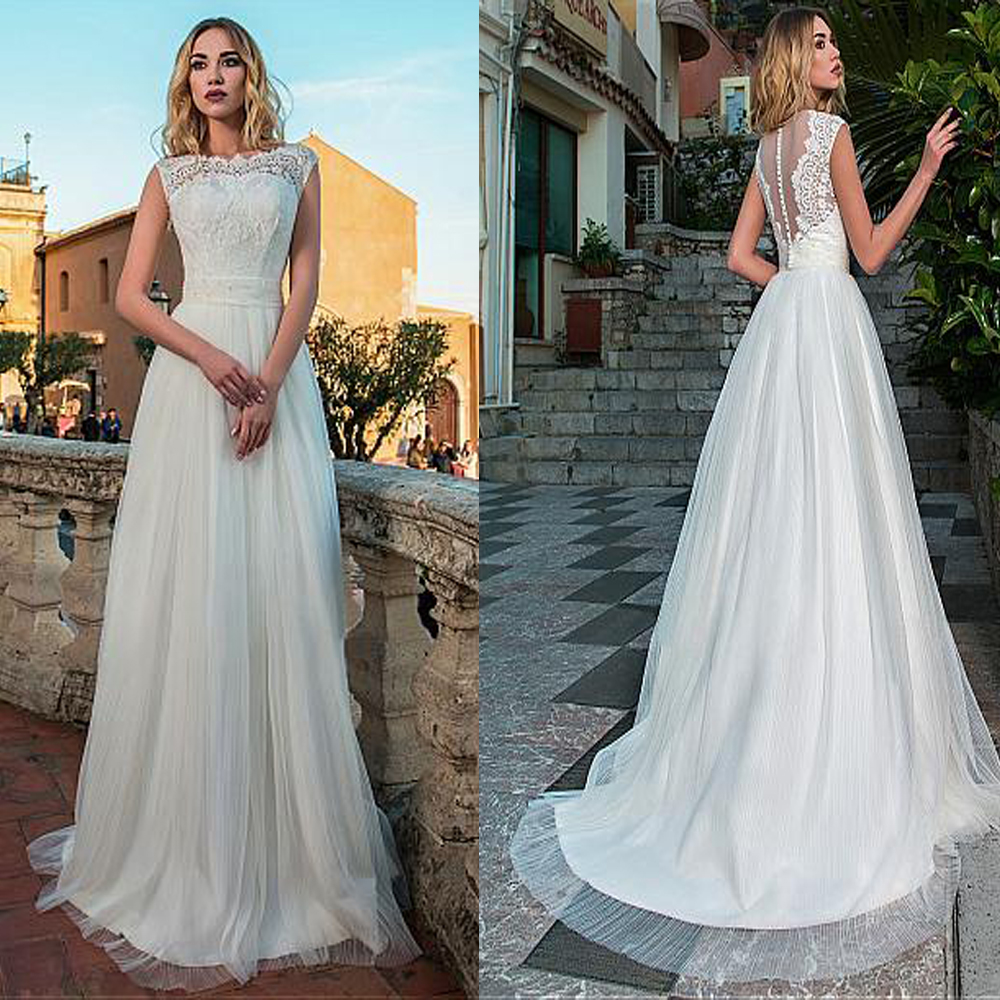 Lace Top A-Line Wedding Dresses Tulle Long Women Bridal Gowns Spring Sleeveless With Buttons Back Custom Made