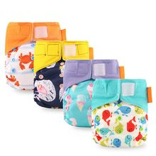 Newborn Cloth Diapers Multi-absorbent Diaper Washable Double Gusset Layer Velcro Reusable Nappies Ecological Training Panties(China)