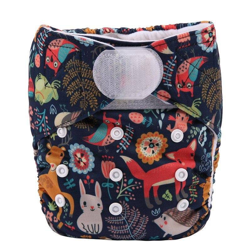 [Sigzagor] 1 тканевый подгузник с карманами для детей, подгузник с застежкой-липучкой, с широкими полосками на талии - Цвет: DV14