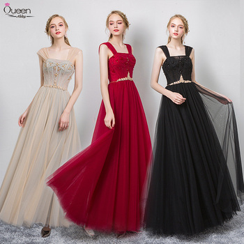 Elegant Evening Dresses Long Queen Abby A-line Off The Shoulder Beading Sleeveless Lace-Up Sexy Formal Evening Gowns For Party