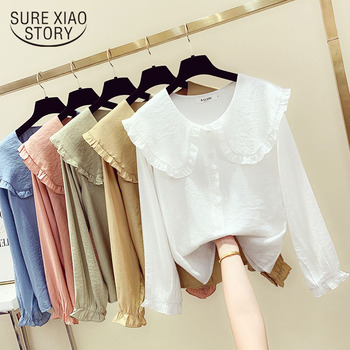 Spring Fall New Women's Fashion Peter Pan Collar Slim Shirt Long Sleeve Casual Style Cotton Blouse Female Tops Blusa Mujer 11356 1