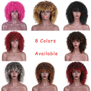 Image 4 - Doris beauty Purple Afro Curly Wigs for African American Women 12 Synthetic Short Wig Natural Hair Bangs Ombre Pink Magenta