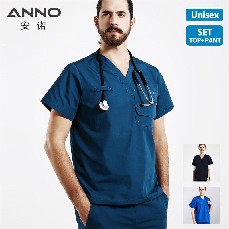 ANNO poches multiples gommages ensemble travail uniforme hôpital forme classique Foctor femme homme vêtements d'allaitement vêtements dentaires
