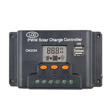 LCD Dual USB Solar Charger Controller 10A 12V/24V Solar Panel Regulator Charge Battery PWM(China)