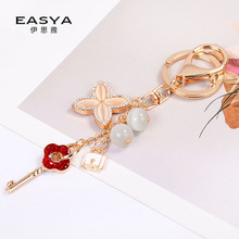 New Creative Four-leaf Clover Key Chain Fashion Pendant Exquisite Opal Ring Bag Decoration Car Ornament Organizer