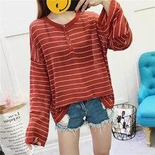 Ice Silk T Shirt Femme Knit Loose Autumn Korean Ulzzang Harajuku Retro Long Sleeve O-neck Button Striped T-shirt For Women Tops rib knit striped t shirt