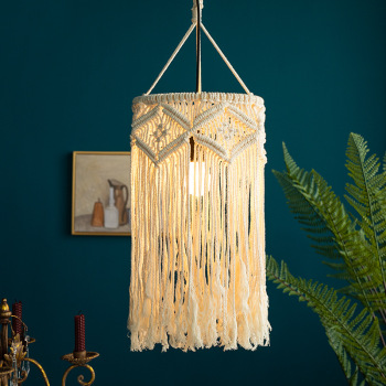 Macrame Lamp Shade Boho Hanging Ceiling Pendant Light Cover Modern Bohemian Office Bedroom Living Room Home Decor baoblaze retro ceiling light shade cover pendant lampshade