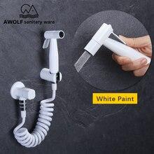 Hand Wc Bidet Sprayer Weiß Farbe Edelstahl Shattaf Solide Messing Ventil BIdet Wasserhahn Dusche Douche Kit AP2217