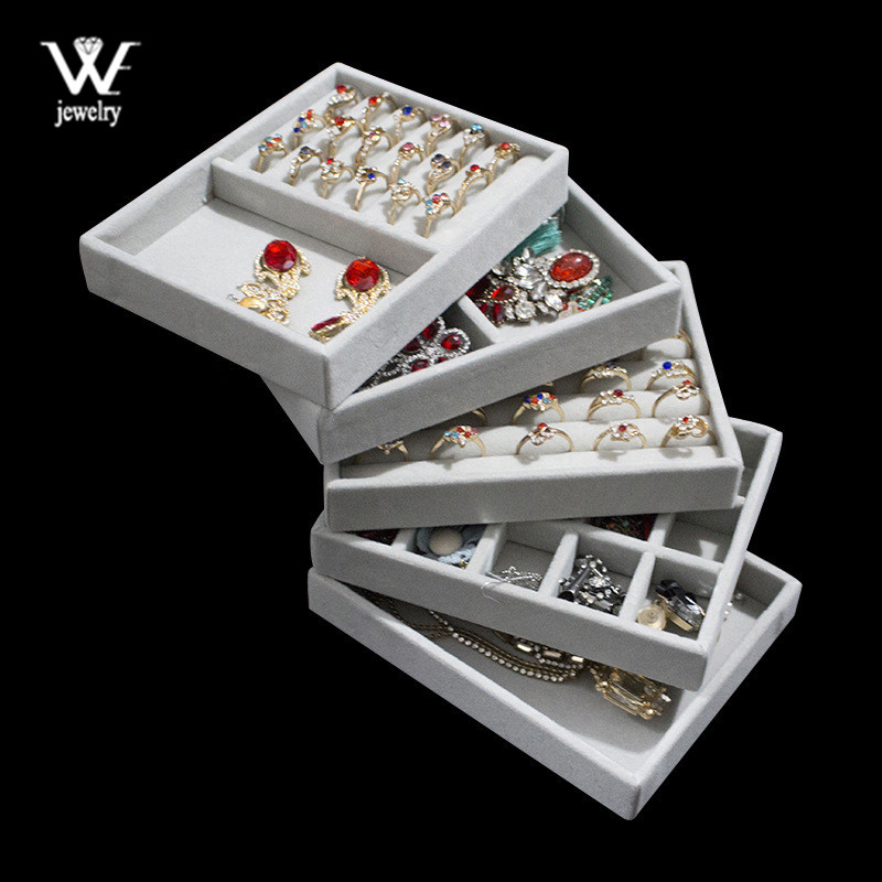 WE Gray Velvet Suede Ring Earrings Organizer Ear Studs Jewelry Display Stand Holder Rack Showcase Plate Fashion Jewelry Box