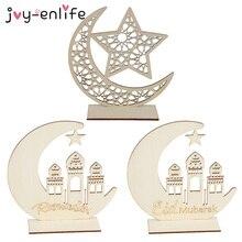 Ramadan eid mubarak decorações para casa lua placa de madeira pendurado ornamentos islam muçulmano festival evento fontes festa