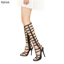 Calzado De Mujer Moda 2018 Wedding Party Women Knee High Summer Boots Strap Gladiator Sandals Gold /Black Stiletto Heels