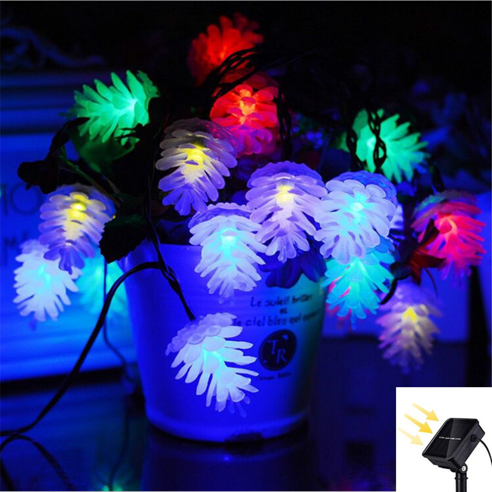 30LED Solar Pinecone Fairy String Lights Christmas Light Outdoor Waterproof For Party Holiday Courtyard Tree Decorative Light