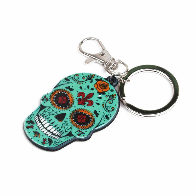 Calavera หวาน-Sweet Skull พวงกุญแจ Keyring ฉลองฮาโลวีนอะคริลิคน้ำตาล Skull Skeleton กระเป๋า Charm: 4 สี