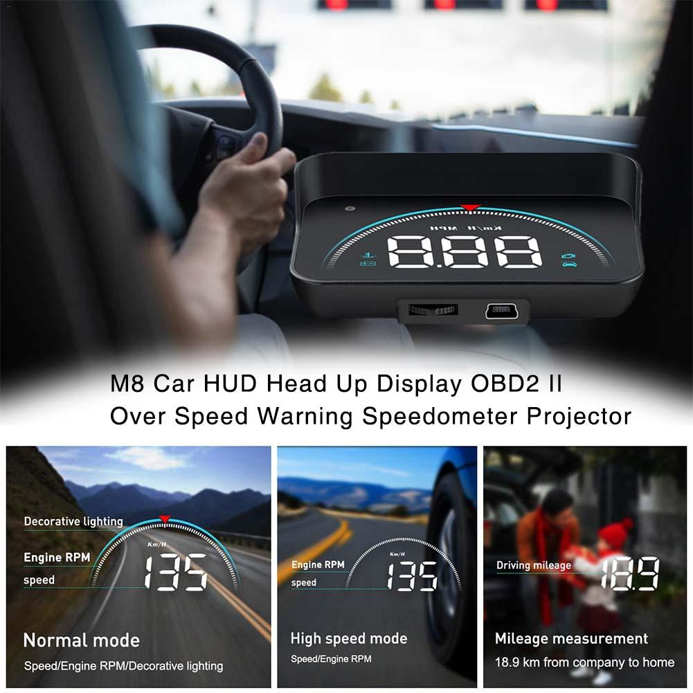 M8 Smart Head-up Universal Car HUD Head Up Display OBD2 II Over Speed Warning Speedometer Projector Color LED Screen 2019 New