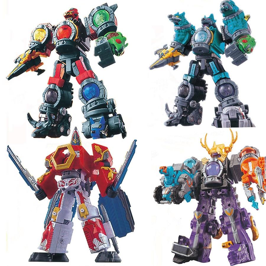 Megazords Dinosaur Rangers 5 In 1 Assembled Robots Transformation Action Figure Deformation Toys For Children
