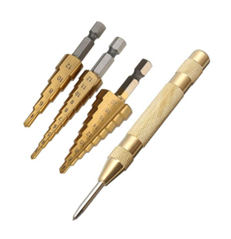 4pcs HSS Titanium Coated Step Drill Bit With Automatic Center Pin Punch 3-12/4-12/4-20mm Step Drill Bit For Metal Woodwork Tool