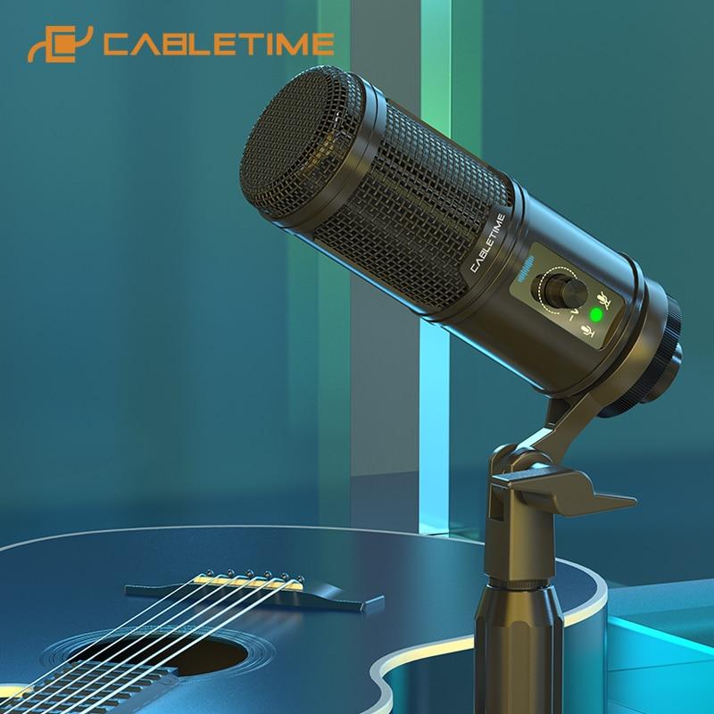 USB-микрофон CABLETIME с кнопкой отключения звука, профессиональный динамик для игр, прямой трансляции, студийный ноутбук, Youtube, Skype, речь C385