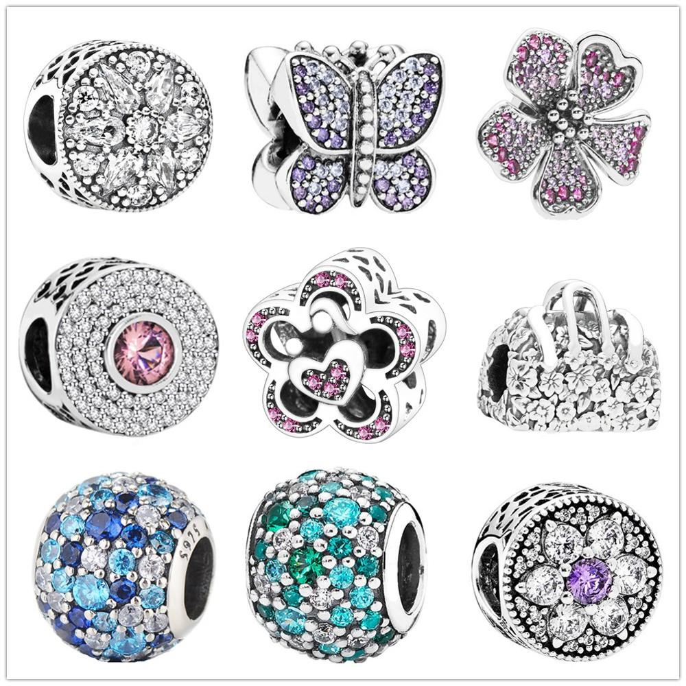 Fit Original Pandora Charms Bracelet 925 Sterling Silver Zircon Butterfly love flower charm bead DIY Jewelry Making Berloque(China)
