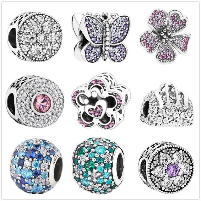 Fit Original Pandora Charms Bracelet 925 Sterling Silver Zircon Butterfly love flower charm bead DIY Jewelry Making Berloque