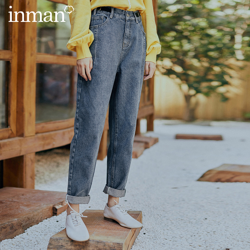 INMAN 2020 Spring New Arrival Literary Medium Waist Washed Skinny Denim Pants Jeans