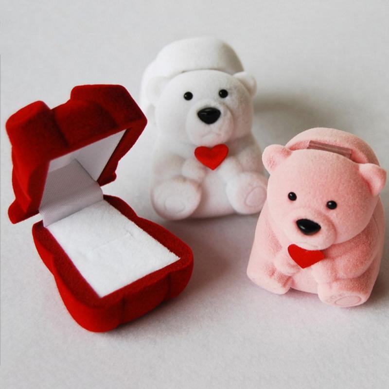 1 peça de veludo urso suporte para brincos anel colar jóias embalagem caixa presente casamento noivado exibição titular
