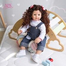 NPK-Muñeca Reborn de 60CM para niña, bebé realista, cuerpo suave rizado, moda para el cabello, regalos de Navidad para niña