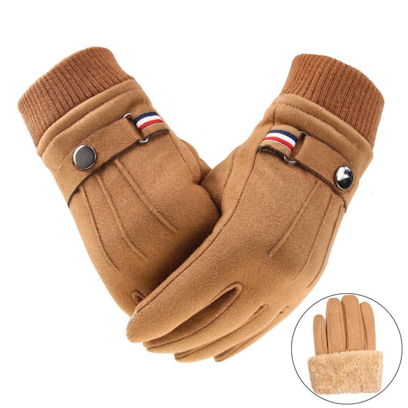 Men\'s Winter Gloves Suede Warm Split Finger Gloves Outdoor Sport Driving Buckle Design Male Touch Screen Mittens