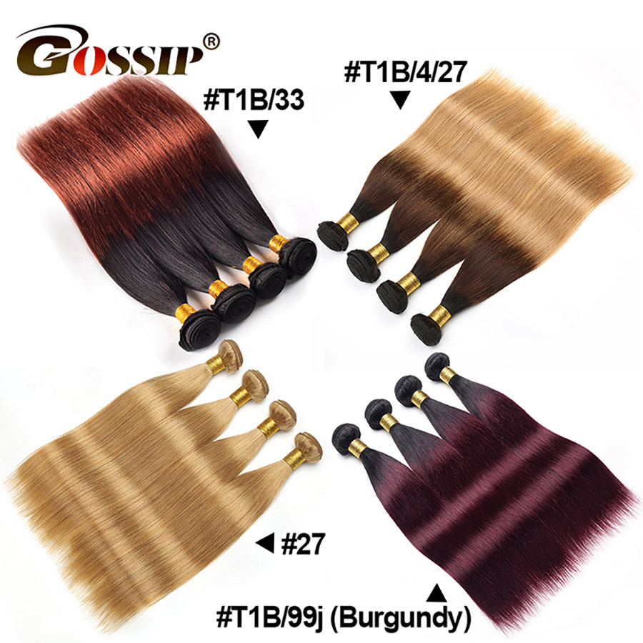 Straight Hair Bundles Brazilian Hair Weave Bundles Non-Remy Honey Blonde Hair Extensions Gossip Colored Ombre Human Hair Bundles (10)