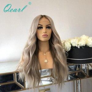 Image 5 - Srebrny szary kolor ludzki włos koronki przodu peruki Ombre faliste peruwiańskie włosy Remy bielone węzłów 13x4 środkowa część 130% 150% Qearl