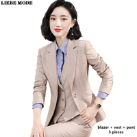 Womens Business Formal Office Suits Blazer Vest Waistcoat Pencil Pant Three Piece Sets Woman Pants Suits Interview Clothes Women