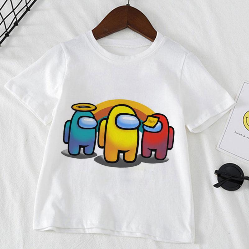 Детская футболка с забавным мультяшным принтом, футболка для мальчиков и девочек в стиле Харадзюку, детская одежда, короткая футболка, улич...