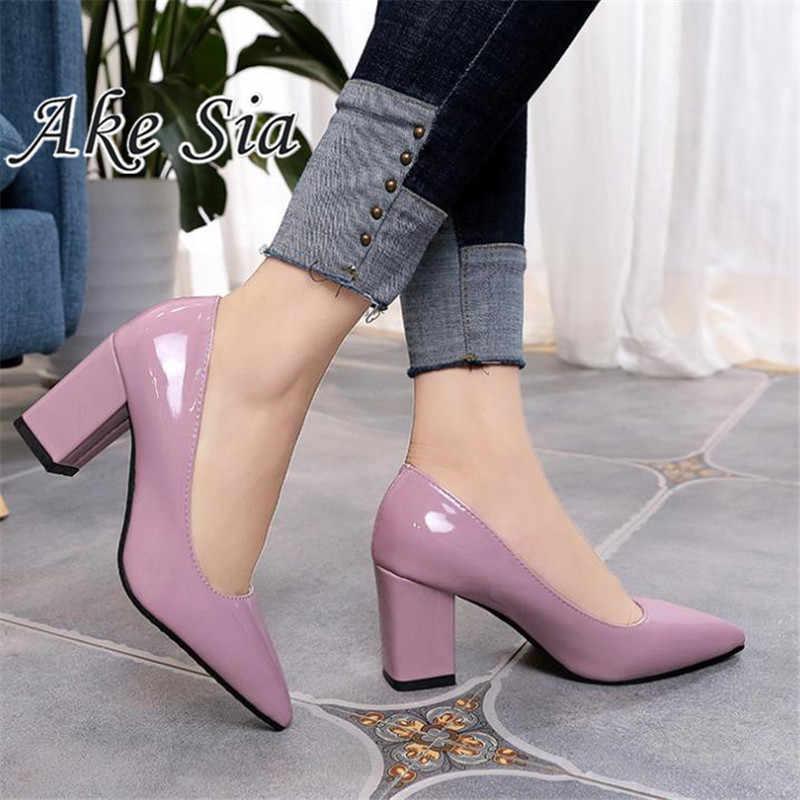 2020 yeni kadın siyah pompalar yüksek topuklu 7.5cm bayan rugan kalın sonbahar sivri tek ayakkabı kadın sandalet büyük 33-43