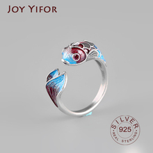 Blue purple koi fish Ring Women Vintage Jewelry 925 sterling silver rings for Women Crystal Green Leaf Ring Female Wedding Rings