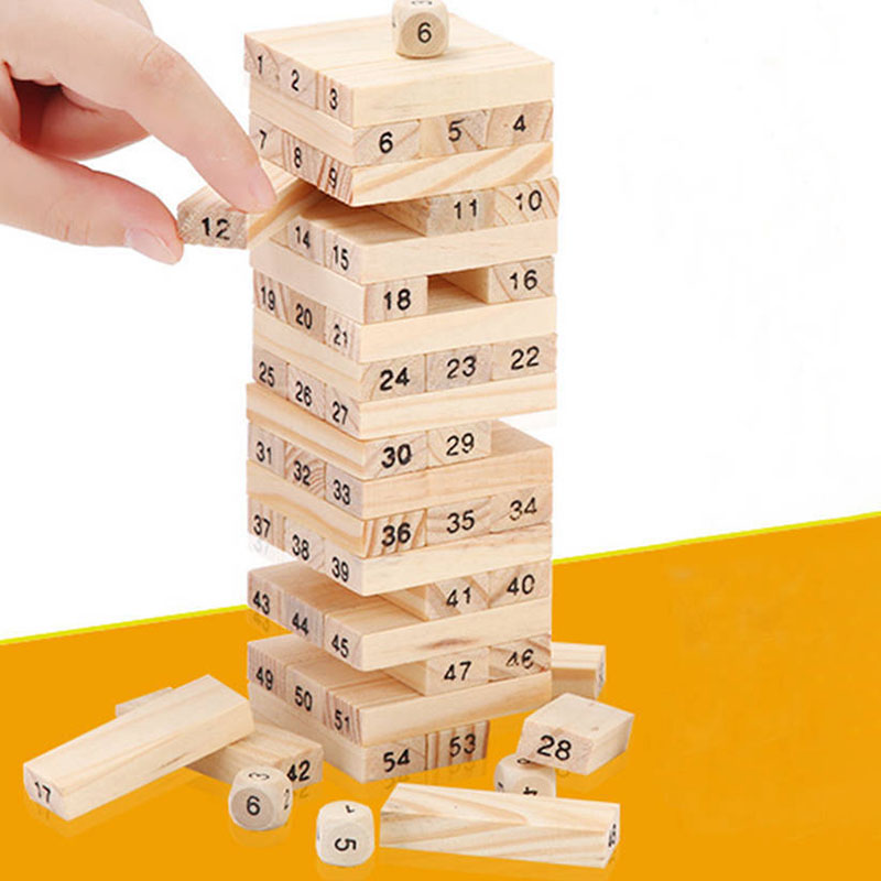 Creative Novel Wooden Digital Jenga Building Block Brain Game Toy Fashion Children Entertainment Intelligence Interaction Toys
