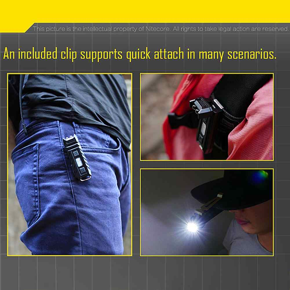 Duim 85 Lumens USB Oplaadbare Rode en Witte Dual Lichtbron LED Sleutelhanger Licht-Kantelen Werk Licht Clip