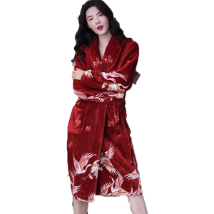 Image 1 - Winter Long Bathrobe Women Belt Flannel Kimono Bath Robe Bridal Wedding Bridesmaid Robes Dressing Gown Peignoir Badjas Housecoat