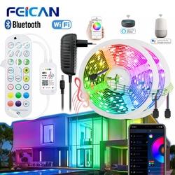 Светодиодные ленты гибкий Wi-Fi/Bluetooth светильник 5-20 м 12V Водонепроницаемый RGB светодиодный светильник s приложение Управление работает с Alexa мо...