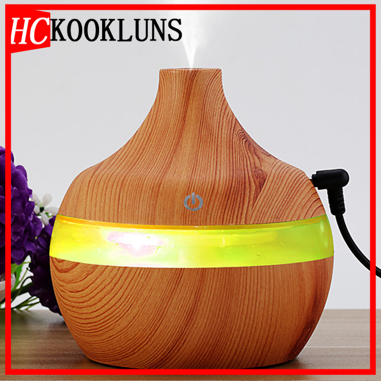 300ML USB Wood Grain Essential Oil Diffuser Ultrasonic Humidifier Household Aroma Diffuser Aromatherapy Mist Maker With LED
