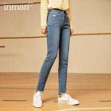 Trousers INMAN Wash-Jeans Waist Fashion Irregular Medium Autumn Raw-Edges Worn-Out Winter