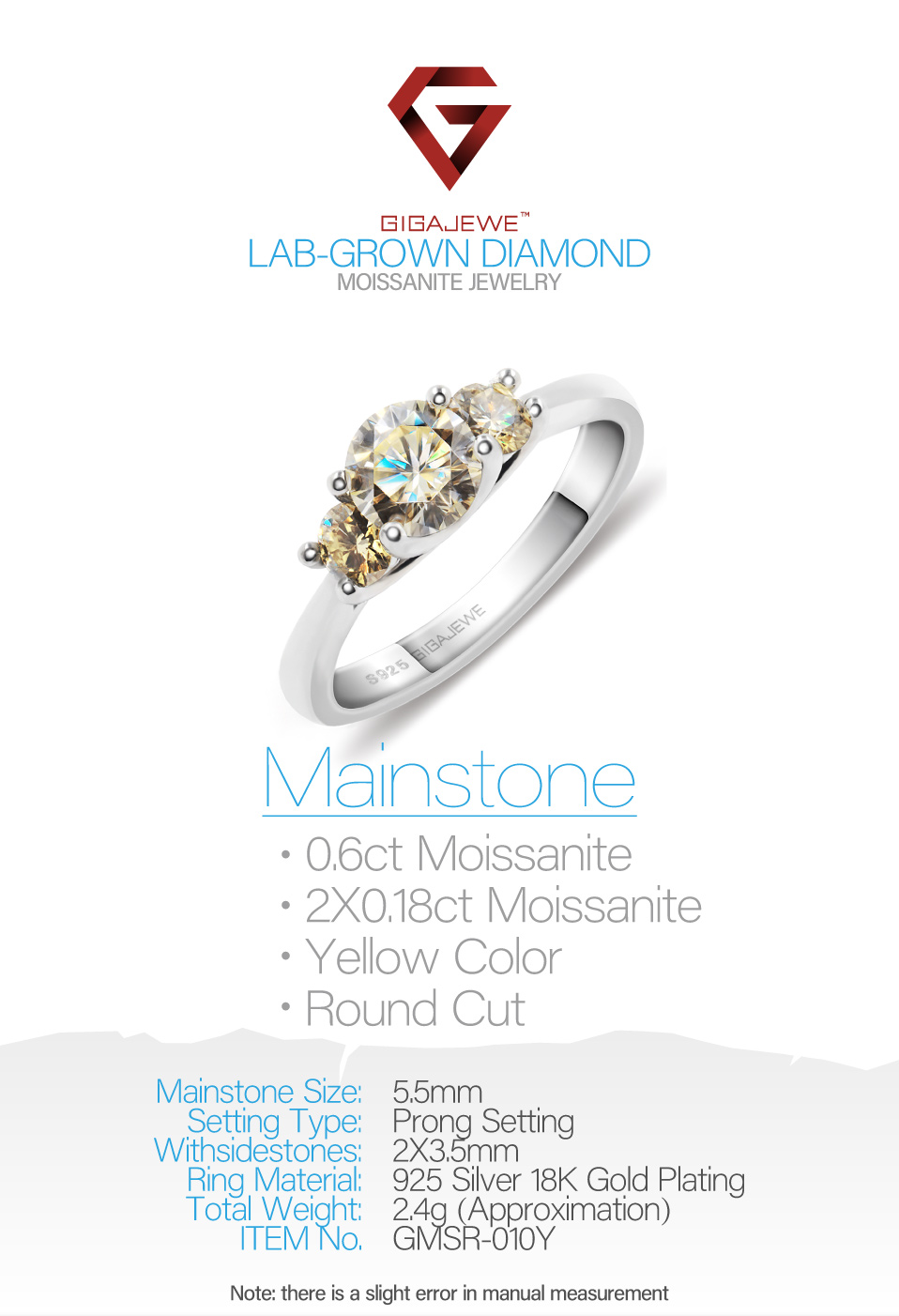 GIGAJEWE Moissanite 1ct 5.5mm+2X3.5mm Round Cut Yellow Color 925 Silver Ring Gold Multi-layer Plated Fashion Girlfriend Gift