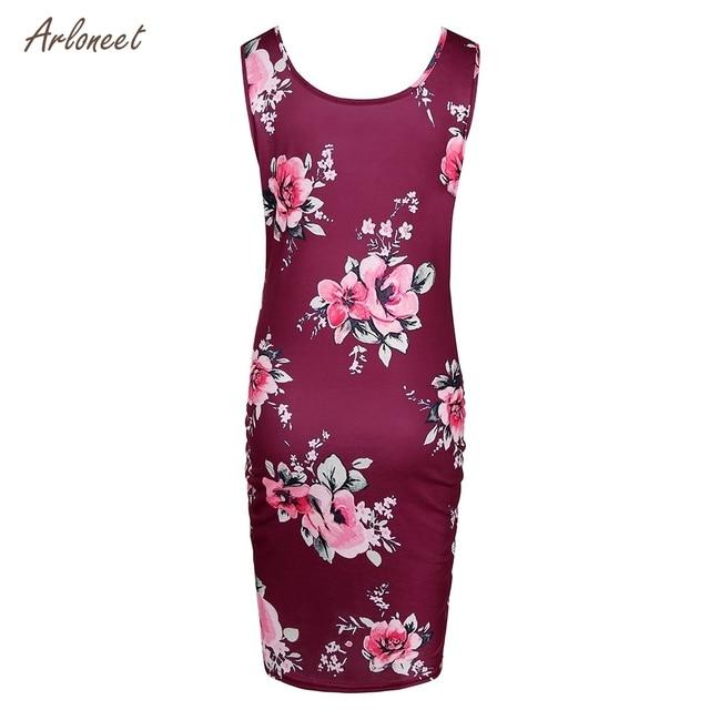 ARLONEET Women's Maternity Floral Print Sleeveless Dresses 5