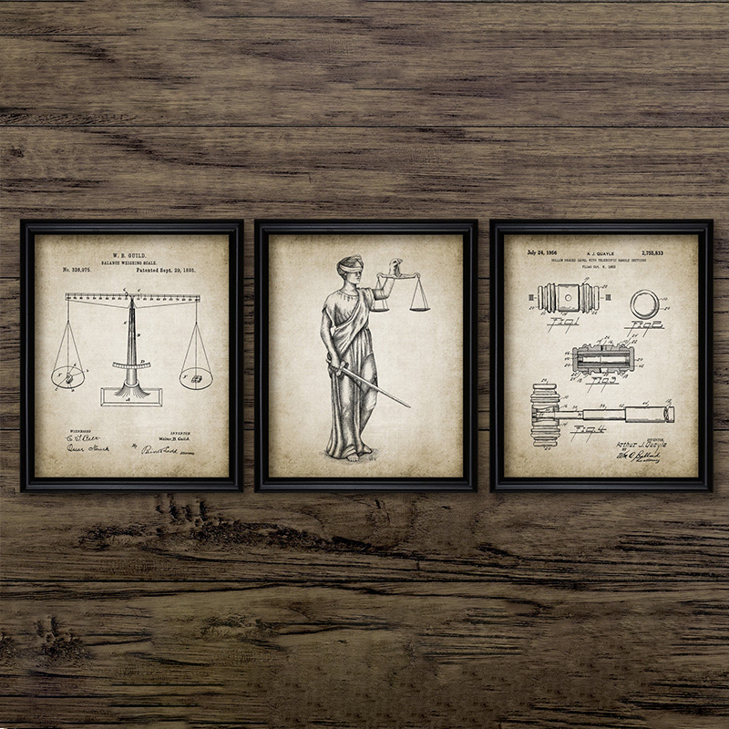 Attorney Lady Justice Law Patent Posters And Prints Scales Of Justice Lawyer Gift Art Canvas Painting Lawyer Office Wall Decor