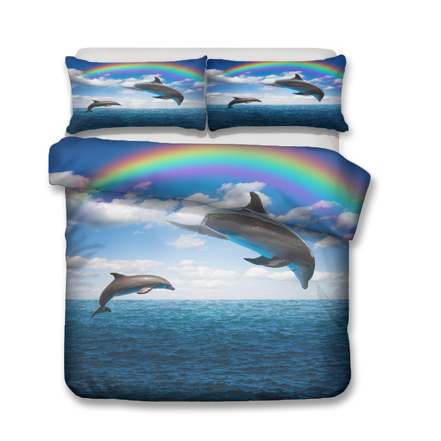 A Bedding Set 3D Printed Duvet Cover Bed Set Sea Dolphin Home Textiles for Adults Bedclothes with Pillowcase HT11 in Bedding Sets from Home Garden