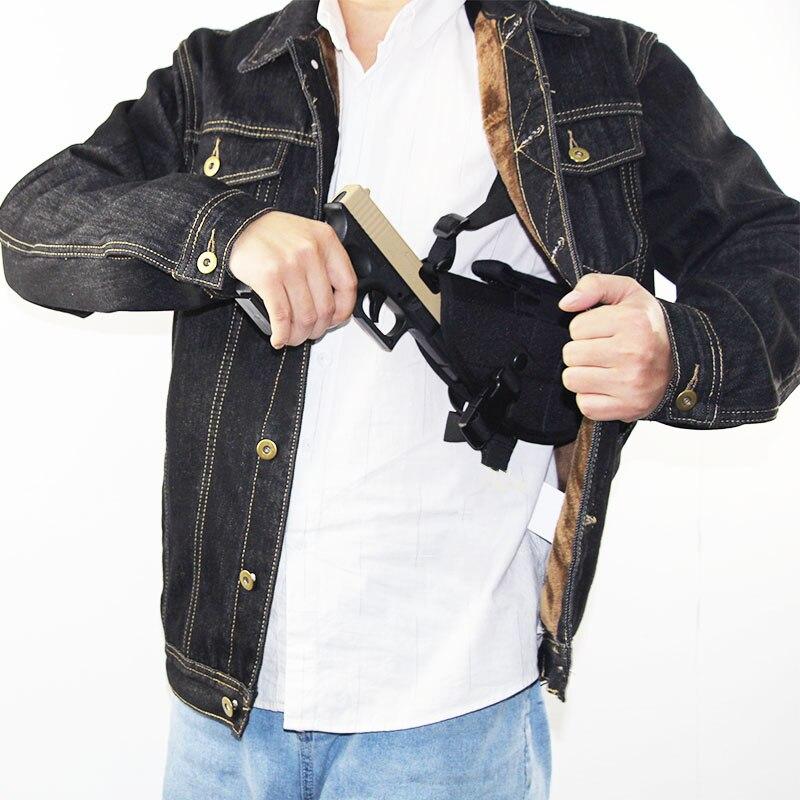 Tatical escondido coldre de ombro pistola airsoft arma coldre para glock 17 18 19 26 43 cz75 hk usp universal com bolsa revista