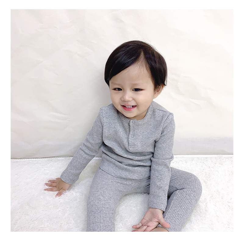 Soft Ribbed Toddler Girl Pajamas For Baby Boys Clothes Set Autumn Winter Children Outfits Long Sleeve Tops Pants 2 Pcs Kids Suit (11)