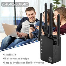 Wireless WiFi Repeater Convenient Practical User-friendly Design 1200Mbps Signal Amplifier 4 Antenna WiFi Range Extender(China)
