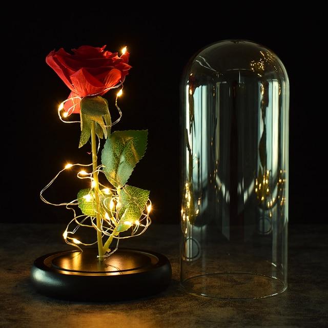 Beautiful Battery Powered LED Rose Glass Bottle String Light Desk Lamp Romantic Valentine's Day Birthday Gift Home Decoration 2