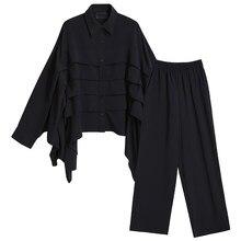 EAM-pantalones de pierna ancho plisado para mujer, traje de dos piezas con solapa nueva, manga larga, color negro, corte holgado, moda para primavera y verano, 1DD3768, 2021