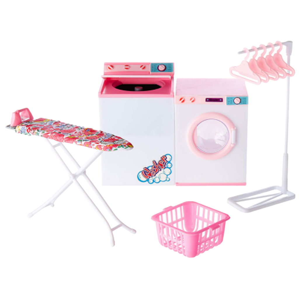1/6 Washing Machine & Ironing Board & Clothes Hangers Stand Set For Dollhouse Bathroom Decor, 12'' Children Pretend Play Toy